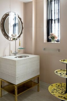 """Large format """"blush"""" tile - Modern Bathroom in New York, NY by Fawn Galli Interiors Modern Room, Modern Bathroom, Spa Design, Deck Design, Design Ideas, Concrete Sink, Washington Square Park, Bathroom Interior Design, Small Spaces"""