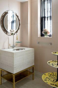 "Large format ""blush"" tile - Modern Bathroom in New York, NY by Fawn Galli Interiors Bathroom Interior Design, Interior, Tubs And Showers, Powder Room, Luxury Spa Design, Bathroom Mirror, Round Mirror Bathroom, Modern Bathroom, Bathroom"