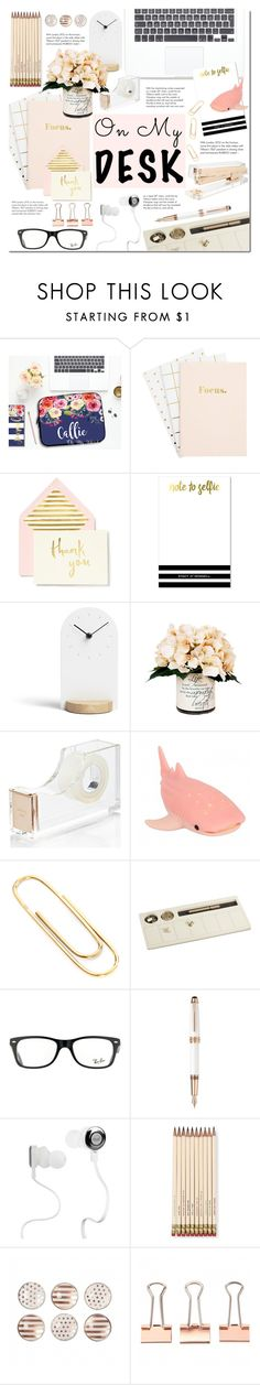 """On my desk"" by mada-malureanu on Polyvore featuring interior, interiors, interior design, home, home decor, interior decorating, Kate Spade, Umbra, Creative Displays and Tiffany & Co."