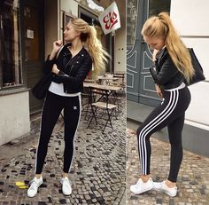 Get this look: http://lb.nu/look/8856839  More looks by Esther E.: http://lb.nu/esthercarina  Items in this look:  Adidas Leggings, White Adidas Sneakers, Urban Outfitters Back Bag, H&M Biker Jacket, H&M White Tee   #casual #sporty #street #lookbook #adidas #adidassneakers #whitesneakers #adidasleggings #adidaswoman