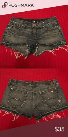 7 for all Mankind denim distressed shorts 31 Excellent condition, only worn a few times 7 For All Mankind Shorts Jean Shorts