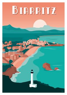 SYCO - Biarritz - Book Illustration Posters for Sale: Prints, Paintings & Wall Art . Vintage Beach Posters, Vintage Ski, Style Vintage, Greece Destinations, Poster Art, Ville France, Biarritz, Greece Travel, Spain Travel