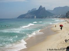 Traveling in Rio- Ipanema with Morro dos Irmaos in the background, Rio de Janeiro