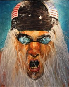 Michael Phelps, Oil on canvas,43 x 54 inches, Mike Halem
