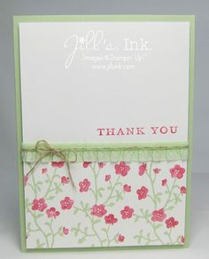 Morning Meadow Thank You Card...Love these new In Colors (Pistachio Pudding & Strawberry Slush)!!!