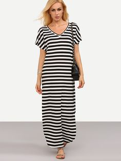 f2b5be351a Black and White Striped V Neck Split Dress EmmaCloth-Women Fast Fashion  Online
