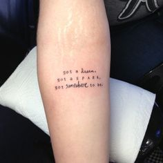 """fuckyeahtattoos:I got this tattoo done last month by Allen at Renaissance Studios in Dana Point, CA.The lyrics are from the song """"The Reckless and The Brave"""" by All Time Low. When the band released the song it really hit home for me, these lyrics in particular, reminding me why I moved to California from a small town in Missouri. The design is my own, and the word """"somewhere"""" is the handwriting of Alex Gaskarth, the vocalist/lyricist of the band."""