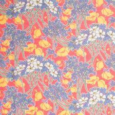 Liberty of London Hazel Red/Blue/Yellow/Purple Silk-Cotton Voile Fabric by the Yard   Mood Fabrics