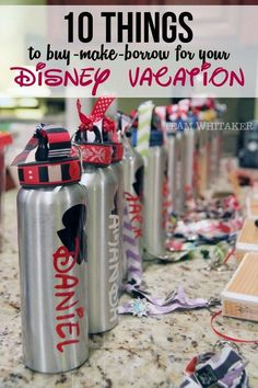 10 Things to Buy, Make or Borrow for Your Disney Vacation Looking for ways to make your Disney vacation affordable? These 10 ideas include things you can buy, make or borrow for your trip - from water bottles to ponchos, this list has it all. Voyage Disney World, Viaje A Disney World, Disney World 2017, Trip To Disney World, Disney Worlds, Backpack For Disney World, Disneyland Backpack, Disney World Souvenirs, Universal Orlando