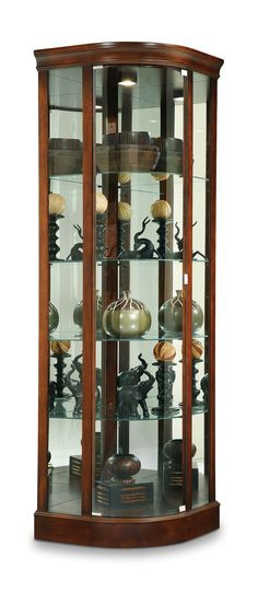 Bar With Glass Shelves Hom Furniture, Carved Furniture, Frameless Glass Doors, Furniture, Crockery Unit Design, Crockery Unit, Corner Curio, Home Decor Accessories, Glass Wall Shelves