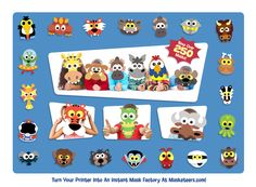 We've now got over 250 printable masks at www.Masketeers.com and they're all available for instant download. You can try out three Masketeers - Mr Moose, Croc and Chimp here http://www.masketeers.com/free-printable-masks.htm for free - so have some fun on us!
