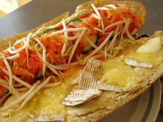 Banh Mi   This is a variation of a Vietnamese sandwich. The French had a great amount of influence with the people of Vietnam. This kind of sandwich is sold throughout Vietnam. This is one of my favorties.