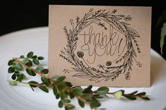 Sweet Wreath : Hand Drawn Thank You Note Cards ~ by JuneBrideLettering
