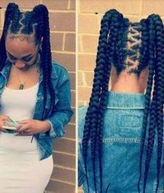 85 Box Braids Hairstyles for Black Women - Hairstyles Trends Black Girl Braids, Braids For Black Hair, Girls Braids, Braided Hairstyles For Black Women, African Braids Hairstyles, Girl Hairstyles, Braid Hairstyles, Teenage Hairstyles, Pretty Hairstyles