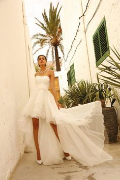 Overskirts Beach Wedding Dresses Cheap 2016 Short High Low Bridal Gows Detachable Train Two Pieces Two In One Organza Lace Bridal Dresses Online with $134.78/Piece on Beautydoor's Store   DHgate.com