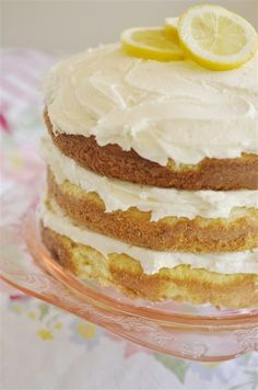 """Lemon Butter Cream Cake- Kell made today. Super yummy! Put the batter into 2 9"""" pans instead of 3- worked out great. Frosting is super rich. Maybe something lighter between the layers? Lemon pie filling? Whipped cream?"""