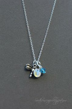 Metal stamped initial necklaces