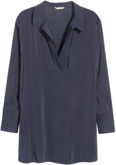 H&M - H&M+ V-neck Blouse - Dark blue - Ladies