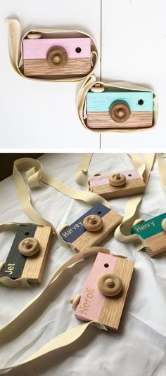 Play wooden children's camera with strap and spinning knobs