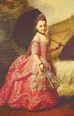 Sofia Frederica enquanto criança. Pintura de 1765 por Georg David Matthieu.