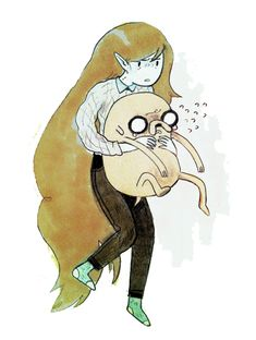 Marceline and Jake by Emily Partridge Marceline, Ink Illustrations, Cute Illustration, Character Inspiration, Character Art, Good Cartoons, Bubbline, Adventure Time Art, Cartoon Art