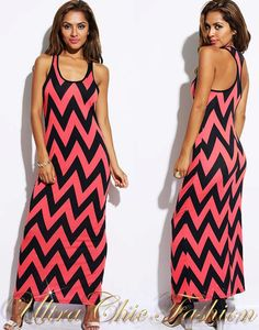 NEW MADE IN USA SEXY S AU 6-8 CORAL BLACK CHEVRON ZIGZAG PRINT SUMMER MAXI DRESS