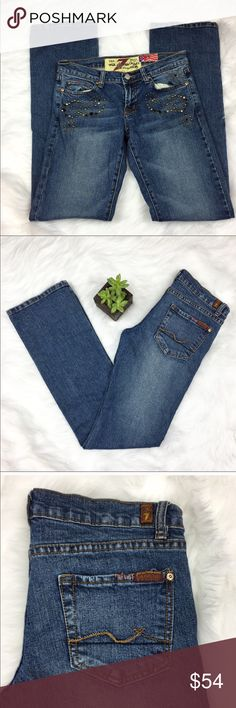 7FAM Great Wall of China Bootcut Jeans 7 for all Mankind Great Wall of China bootcut embellished jeans. Size 27 with 32' inseam. GUC with no major flaws. ❌No trades ❌ Modeling ❌No PayPal or off Posh transactions ❤️ I 💕Bundles ❤️Reasonable Offers PLEASE ❤️ 7 For All Mankind Jeans Boot Cut