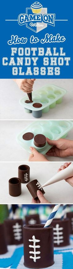 How to Make Football Candy Edible Shot Glasses - Use the Wilton Shot Glass Silicone Mold to make these tasty Football Edible Shot Glasses that are sure to be a touchdown at your big game day. Fill the Chocolate Shot Glasses, Chocolate Shots, Chocolate Liquor, Chocolate Ganache, Shot Glass Mold, Glass Molds, Candy Shots, Jello Shots, Chocolates