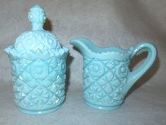 Vintage Quilt Patterned Heavy Blue Milk Glass Covered Sugar Bowl & Creamer…