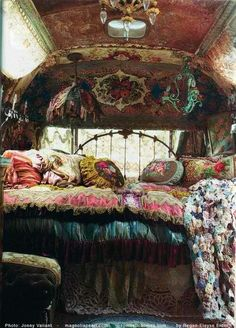 The Magnolia Pearl:A Rolling Boutique To Delight The Senses All photos property of Romantic Homes. All photos of The Magnolia Pearl a gorgeous breathtaking rolling boutique created from an vintage. Bohemian Bedrooms, Gypsy Bedroom, Bohemian Room, Bohemian Interior, Dream Bedroom, Bohemian Homes, Bohemian Bedding, Boho Pillows, Gypsy Wagon Interior
