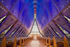 Get visitor information for touring the US Air Force Academy Colorado to learn about cadet life. While you're here, don't miss the stunning Cadet Chapel. Airport Design, Air Force Academy, Air Force Mom, Les Religions, Chapelle, Amazing Architecture, Interior Architecture, Interior Design, Ciel
