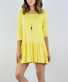 Yellow Ruffle-Hem Three-Quarter Sleeve Tunic