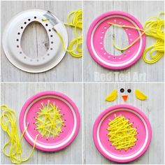 Paper Plate Chicks - this paper plate sewing craft is SO CUTE for Easter. Perfect fine motor skill activity for preschoolers and simply the most adorable Paper Plate Chick Craft!