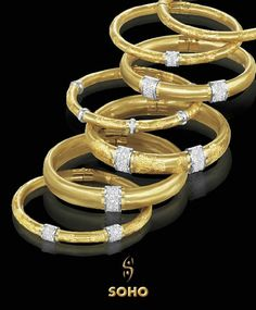 The Couture Collection by Soho, see the complete collection at Diamond Design. From Italy. Diamonds And Gold, Arm Party, Diamond Design, Couture Collection, Soho, Jewelry Stores, Enamel, Bangles, Bling