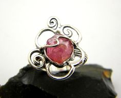 Sterling silver ruby ring rough ruby gemstone by nikiforosnelly