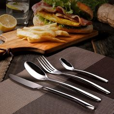 KCASA FL8 4 Pieces Silver Flatware Set Stainless Steel Dinnerware Tableware Set Cutlery Knife Fork