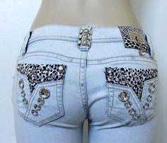LA Idol Distressed Denim Skinny Light Blue Jeans Ripped Crystals Animal Print 5 #LAIdol #SlimSkinny