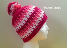By Jenni Designs: Rows of Spikes & A Few Less Spikes Hat Patterns, free pattern, gratis patroon (Engels), muts Crochet Adult Hat, Crochet Beanie Pattern, Crochet Cap, Crochet Scarves, Free Crochet, Crochet Patterns, Hat Patterns, Crochet Clothes, Crochet Crafts