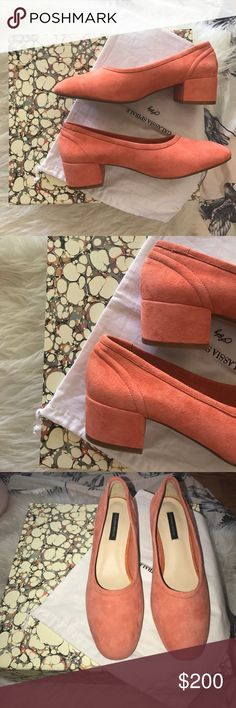 "Galassia Spirale block heel pumps in tangerine Gorgeous brand new pumps with a low block heel in a beautiful light tangerine shade. Never worn. These are 38 but 7's that's why I had to buy a new pair and sell these :( a great pump to wear with some vintage denim that is a little cropped!!! Size + Fit: - US size: 4 / 5 / 6 / 7 / 8 - EUR Size: 35 / 36 / 37 / 38 / 39  - Heel height: 1.6"" / 4cm - Suede, synthetic materials - Imported bought from Genuine People Webshop box and dust bag Galasia…"