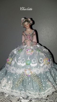 Porcelain Half Doll Pincushion  Dresser by leesvintagetreasures, $129.00