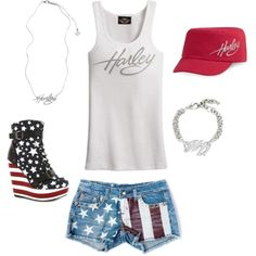Adorable Patriotic Summer Outfit! by shopsandiegoharley on Polyvore