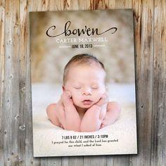 Bébé annonce : Simplement Vintage, imprimable, naissance de bébé garçon, bébé fille, carte-Photo, fichier numérique, Custom