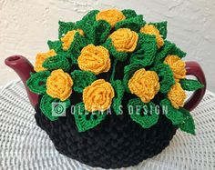 Crochet tea cozy black tea cover yellow rose tea cosy tea warmer crochet rosebud flower green kitchen accessory crochet high tea accessory