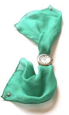 Lovely watch with emerald wristscarf by PASSOU