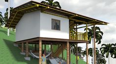 Pergola Attached To House Roof Pole House, Hut House, House Roof, Style At Home, Houses On Slopes, Bungalow, Mountain Home Exterior, Hillside House, Bamboo Architecture