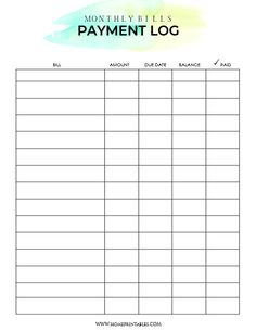 Free Bill Payment Template Monthly Bill Pay Tracker Organizer