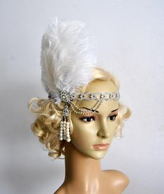 The Great Gatsby rhinestone pearls flapper Headpiece headband, Bridal Headband, Crystal Ribbon Headband Crystal Headband, Pearl Headband, Crystal Rhinestone, Flapper Headpiece, Gatsby Headband, Headdress, Great Gatsby Party, The Great Gatsby, Flapper Style