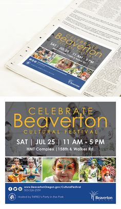 Celebrate Beaverton Cultural Festival advertisement design for the Beaverton Valley Times newspaper | Skyberry Studio #printdesign #newspaperad