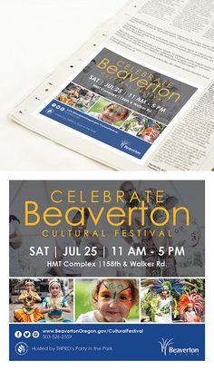 Celebrate Beaverton Cultural Festival advertisement design for the Beaverton Valley Times newspaper | Skyberry Studio #printdesign #newspaperad