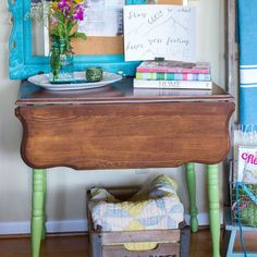 refinished and refreshed vintage drop leaf table, painted furniture